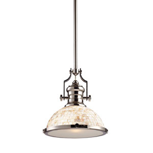 Chadwick Polished Nickel 13-Inch One Light Pendant