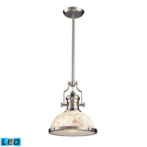 Chadwick Satin Nickel and Cappa Shell LED One Light Pendant