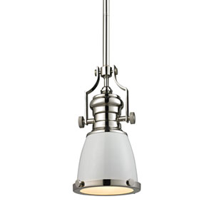 Chadwick Polished Nickel 8-Inch One-Light Pendant with White Shade