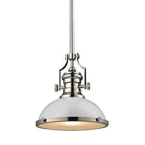Chadwick Polished Nickel 13-Inch One-Light Pendant with White Shade