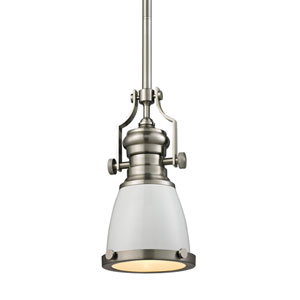 Chadwick Satin Nickel 8-Inch One-Light Pendant with White Shade