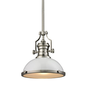 Chadwick Satin Nickel 13-Inch One-Light Pendant with White Shade