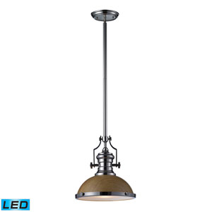 Chadwick Medium Oak and Polished Nickel LED One Light Pendant