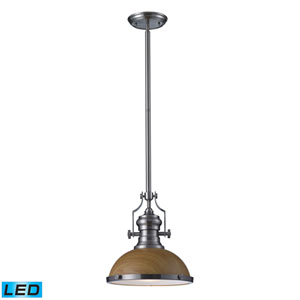 Chadwick Medium Oak and Satin Nickel LED One Light Pendant
