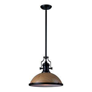Chadwick Medium Oak and Oiled Bronze 14-Inch One Light Pendant