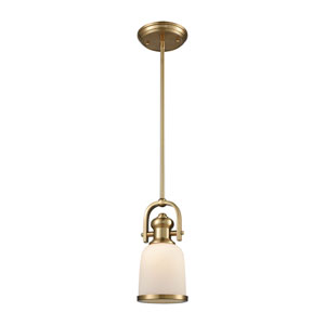 Brooksdale Satin Brass 5-Inch One-Light Mini Pendant with White Glass
