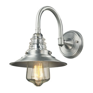 Insulator Glass Brushed Aluminum One Light Wall Sconce