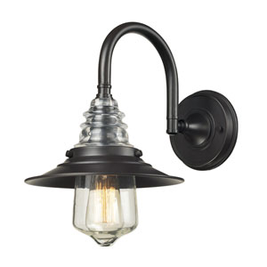 Insulator Glass Oiled Bronze 14-Inch One Light Wall Sconce