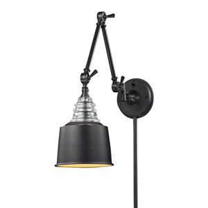 Insulator Glass Oiled Bronze One Light Swingarm Lamp