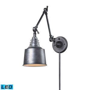 Insulator Glass  Weathered Zinc LED Swing Arm