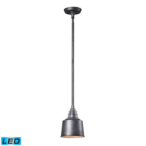 Insulator Glass Weathered Zinc 10-Inch LED One Light Mini Pendant