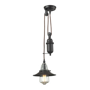 Oil Rubbed Bronze One-Light Pendant with Hanging Detail