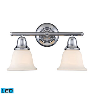 Berwick Polished Chrome LED Two Light Bath Fixture