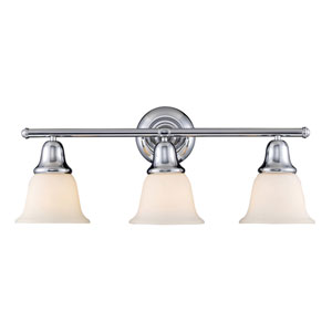 Berwick Polished Chrome Three Light Bath Fixture