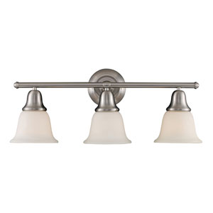 Berwick Brushed Nickel Three Light Bath Fixture