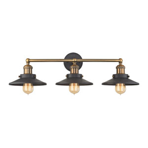 English Pub Antique Brass and Tarnished Graphite 28-Inch Three-Light Vanity