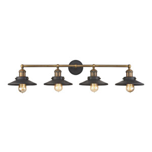 English Pub Antique Brass and Tarnished Graphite 38-Inch Four-Light Vanity