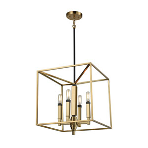 Mandeville Satin Brass and Oil Rubbed Bronze 16-Inch Four-Light Pendant