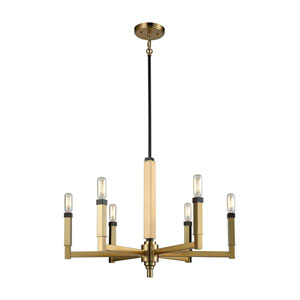 Mandeville Satin Brass and Oil Rubbed Bronze 23-Inch Six-Light Chandelier