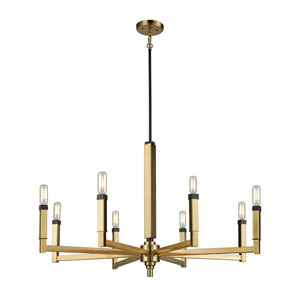 Mandeville Satin Brass and Oil Rubbed Bronze 31-Inch Eight-Light Chandelier