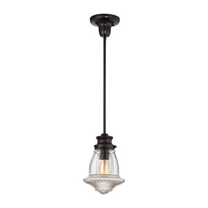 Schoolhouse Mini Pendants Oil Rubbed Bronze 8-Inch One-Light Mini Pendant with Reeded clear glass