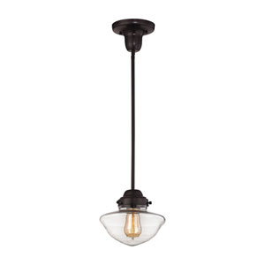 Schoolhouse Mini Pendants Oil Rubbed Bronze 8-Inch One-Light Mini Pendant with Clear glass