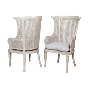 Handpainted Caned Gray Wing Back Chairs - Set of Two
