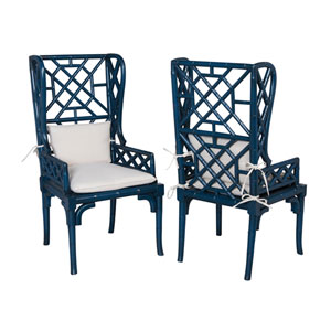 Handpainted Blue Bamboo Wing Back Chairs - Set of Two