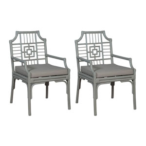 Handpainted Manor Gray Rattan Arm Chairs - Set of Two