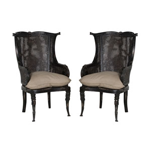 Handpainted Caned Black Wingback Chairs - Set of Two