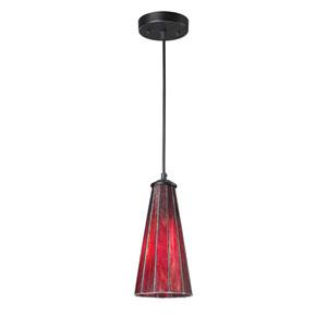 Lumino Inferno Red and Matte Black One Light Mini Pendant