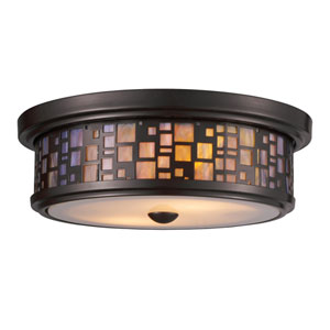 Tiffany Flushes Oiled Bronze 4-Inch Two Light Flush Mount Fixture