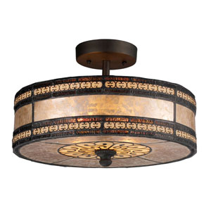 Mica Filigree Tiffany Bronze 9-Inch Two Light Semi-Flush Mount Fixture