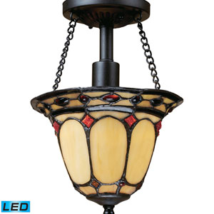 Diamond Ring Burnished Copper LED One Light Semi-Flush Mount Fixture