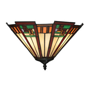 Oak Bridge Tiffany Bronze Two Light Wall Sconce
