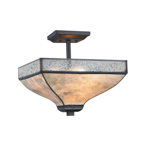 Santa Fe Tiffany Bronze 14-Inch Three-Light Semi-Flush Mount