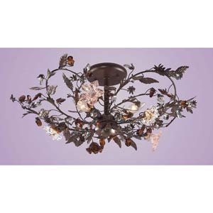 Cristallo Fiore Deep Rust Semi-Flush Ceiling Light