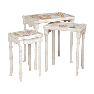 Handpainted Garden View White Nesting Tables - Set of Three
