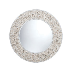 Floral Clam Shell Frame 32-Inch Round Mirror