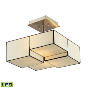 Cubist Brushed Nickel 11-Inch LED Two Light Semi-Flush Mount Fixture
