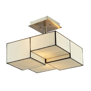 Cubist Brushed Nickel 11-Inch Two Light Semi-Flush Mount Fixture