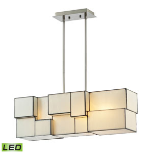 Cubist Brushed Nickel 9-Inch LED Four Light Chandelier