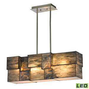 Cubist Brushed Nickel LED Four Light Chandelier