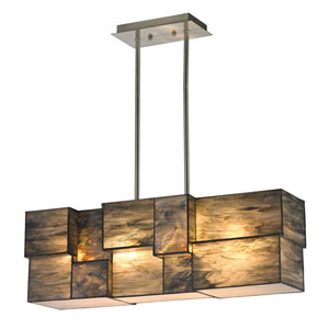Cubist Brushed Nickel Four Light Chandelier