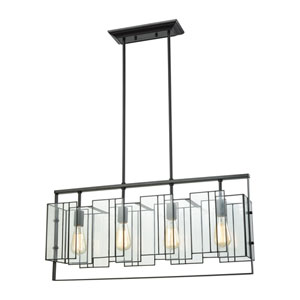 Stratus Oil Rubbed Bronze 31-Inch Four-Light Pendant with Clear Glass