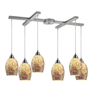 Avalon Satin Nickel Six-Light Pendant with H Canopy