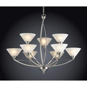 Elysburg Nine-Light Satin Nickel Chandelier