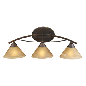 Elysburg Three-Light Vanity in Aged Bronze and Tea Swirl Glass