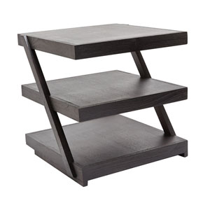 Stacked Black Teak Side Table Tray