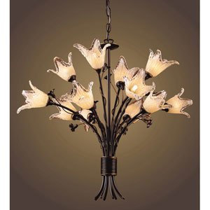 Fioritura Twelve-Light Aged Bronze Chandelier